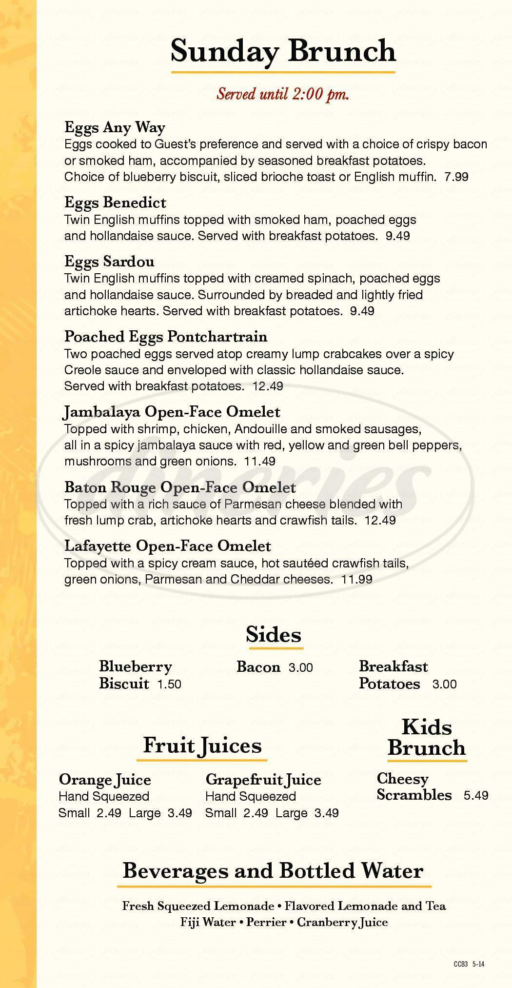 menu for Copeland's Cheesecake Bistro