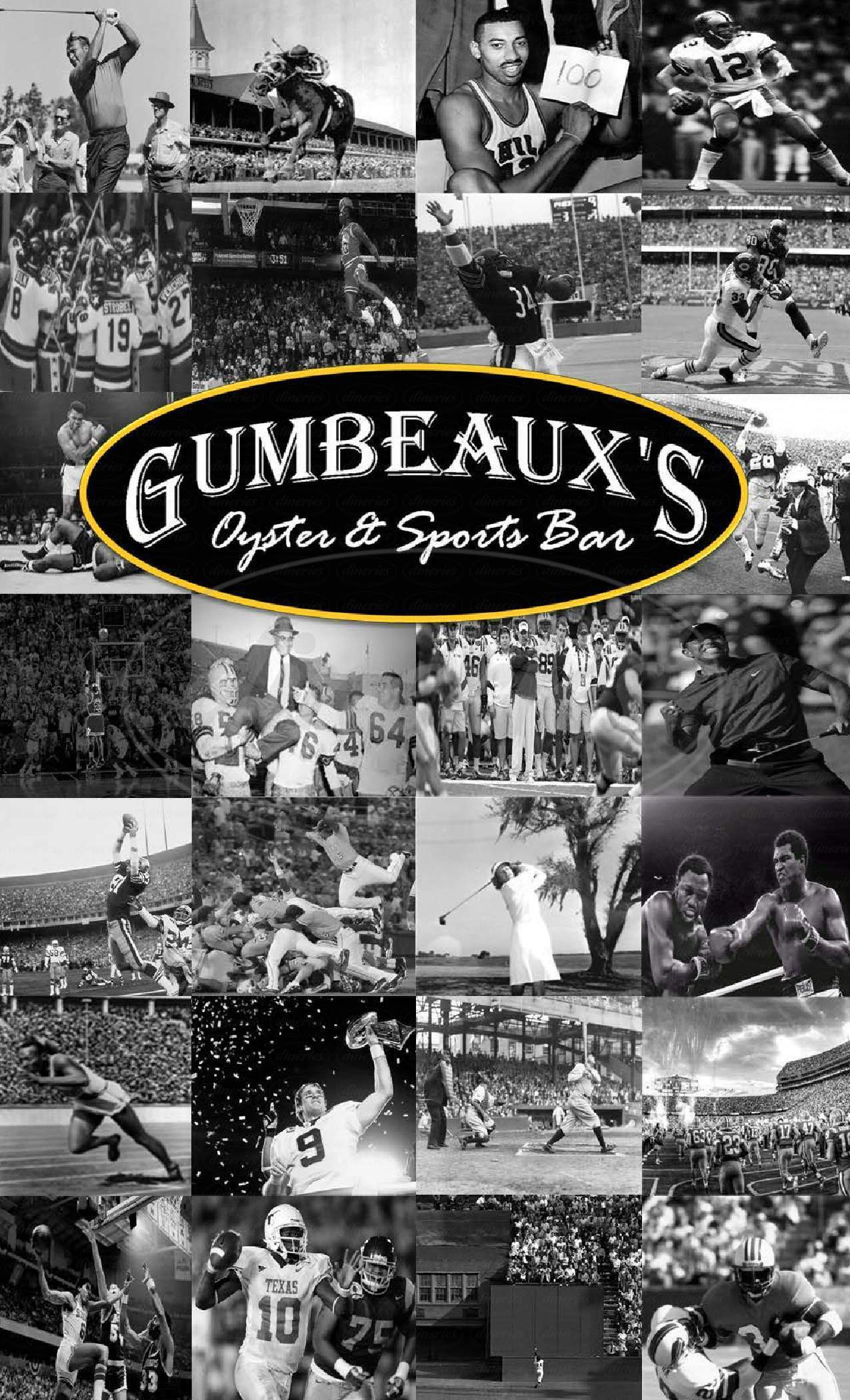 Big menu for Gumbeaux's Oyster And Sports Bar, Kinder