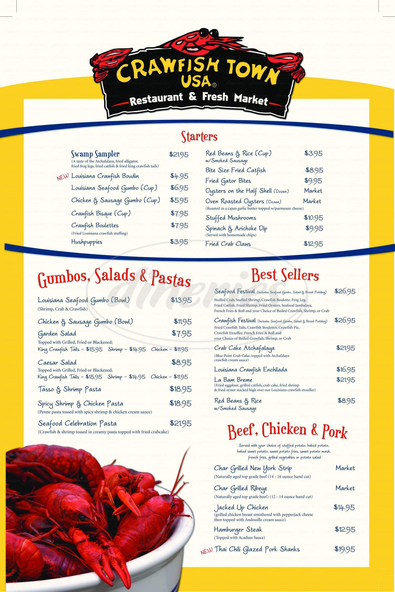 menu for Crawfish Town USA