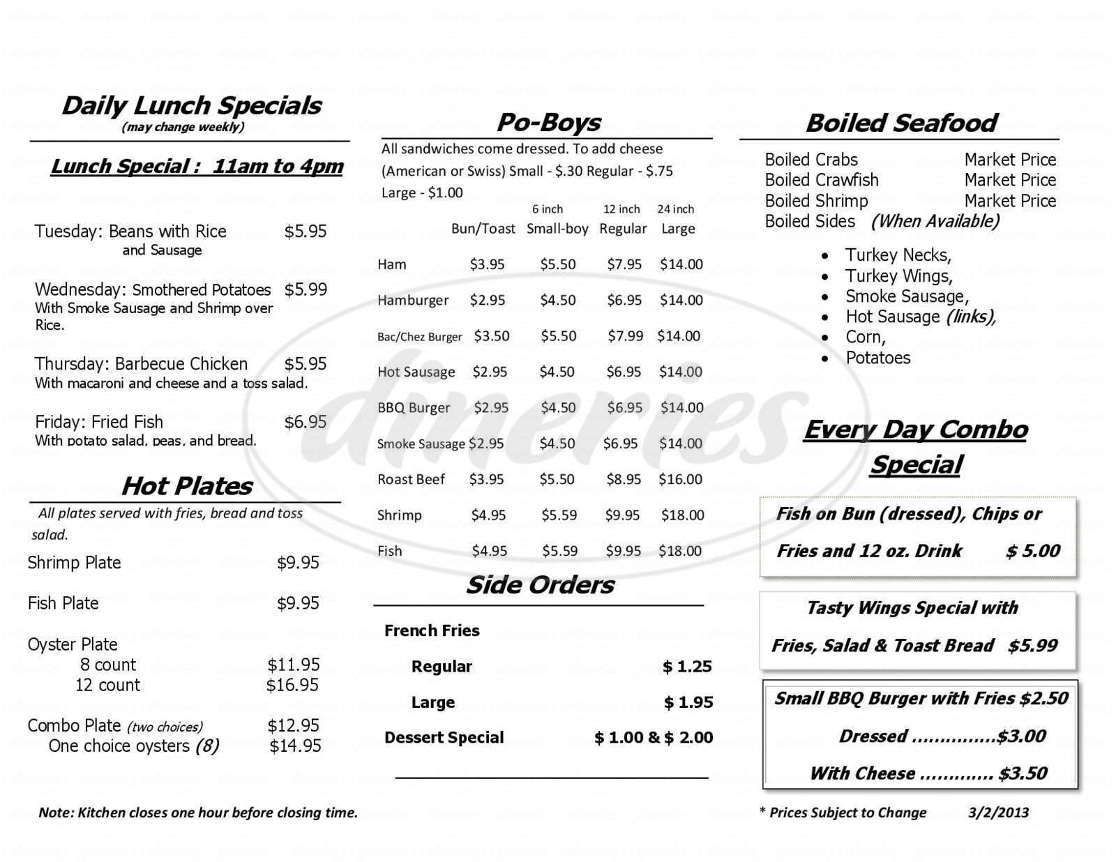 menu for Crump's Seafood Market & Sandwich Shop