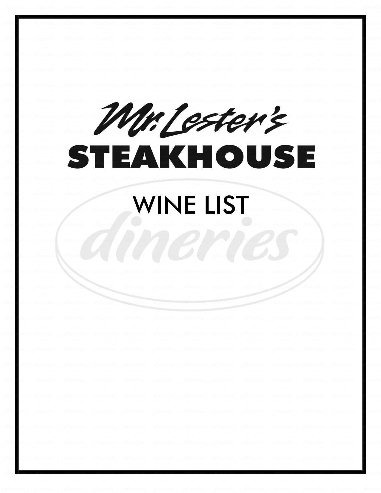 menu for Mr Lester's Steakhouse