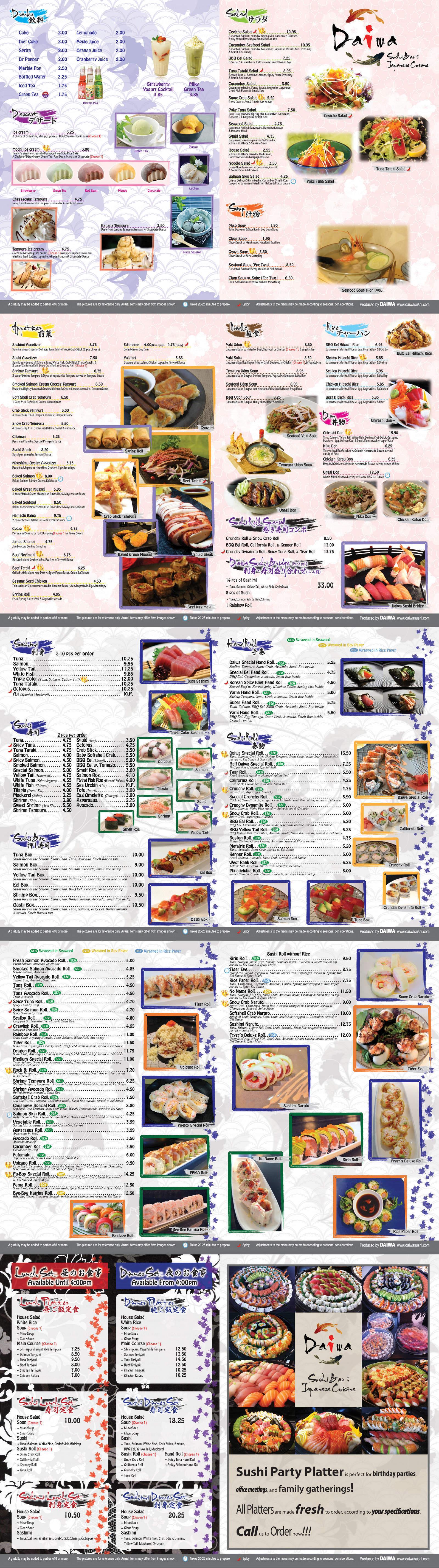 menu for Daiwa