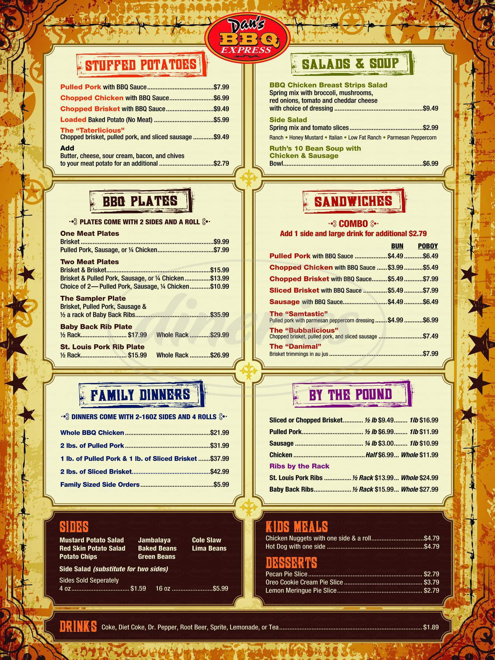 menu for Dan's Bbq Express