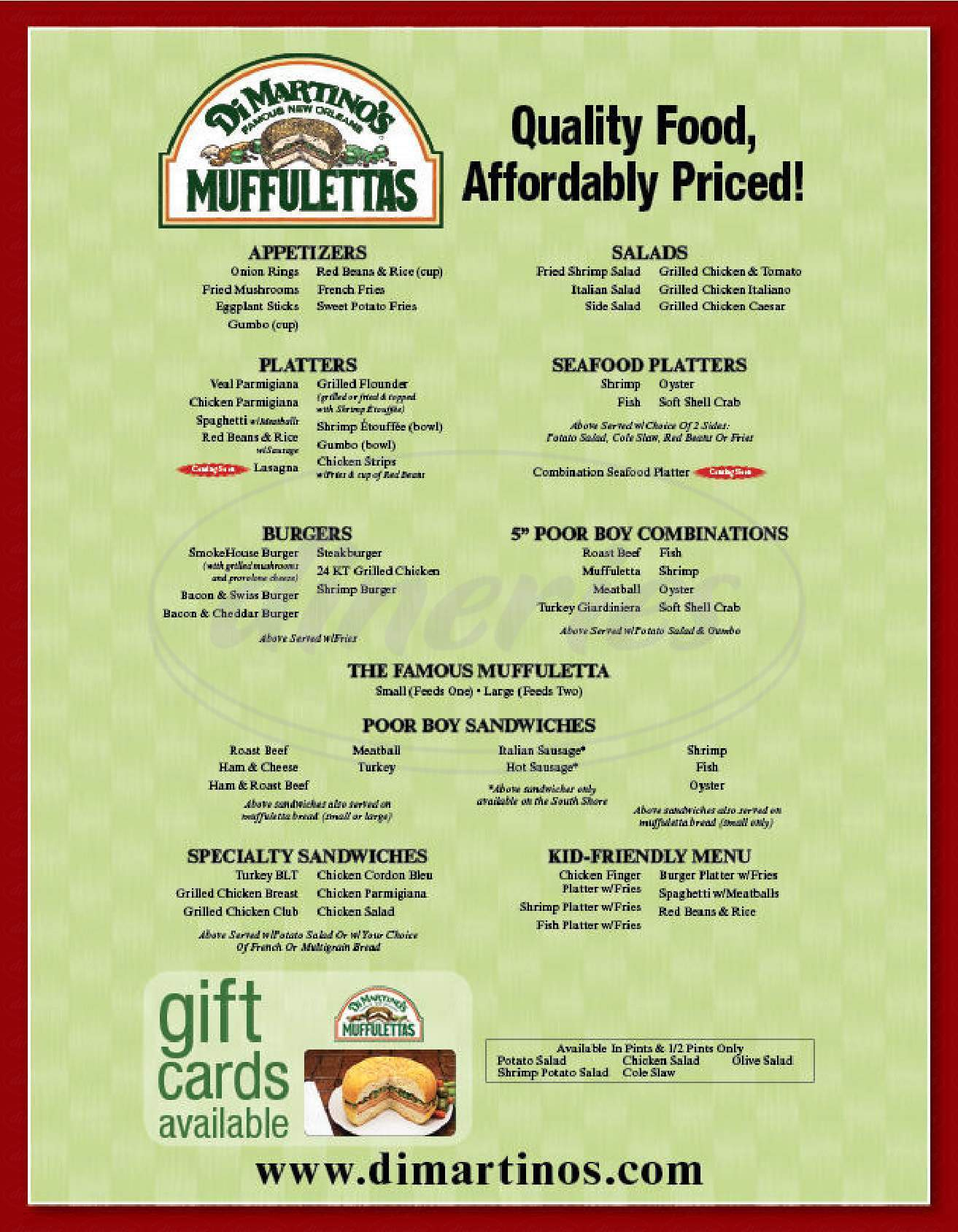 menu for Dimartino's Famous New Orleans Muffulettas