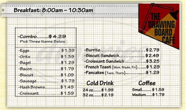 menu for The Drawing Board Cafe