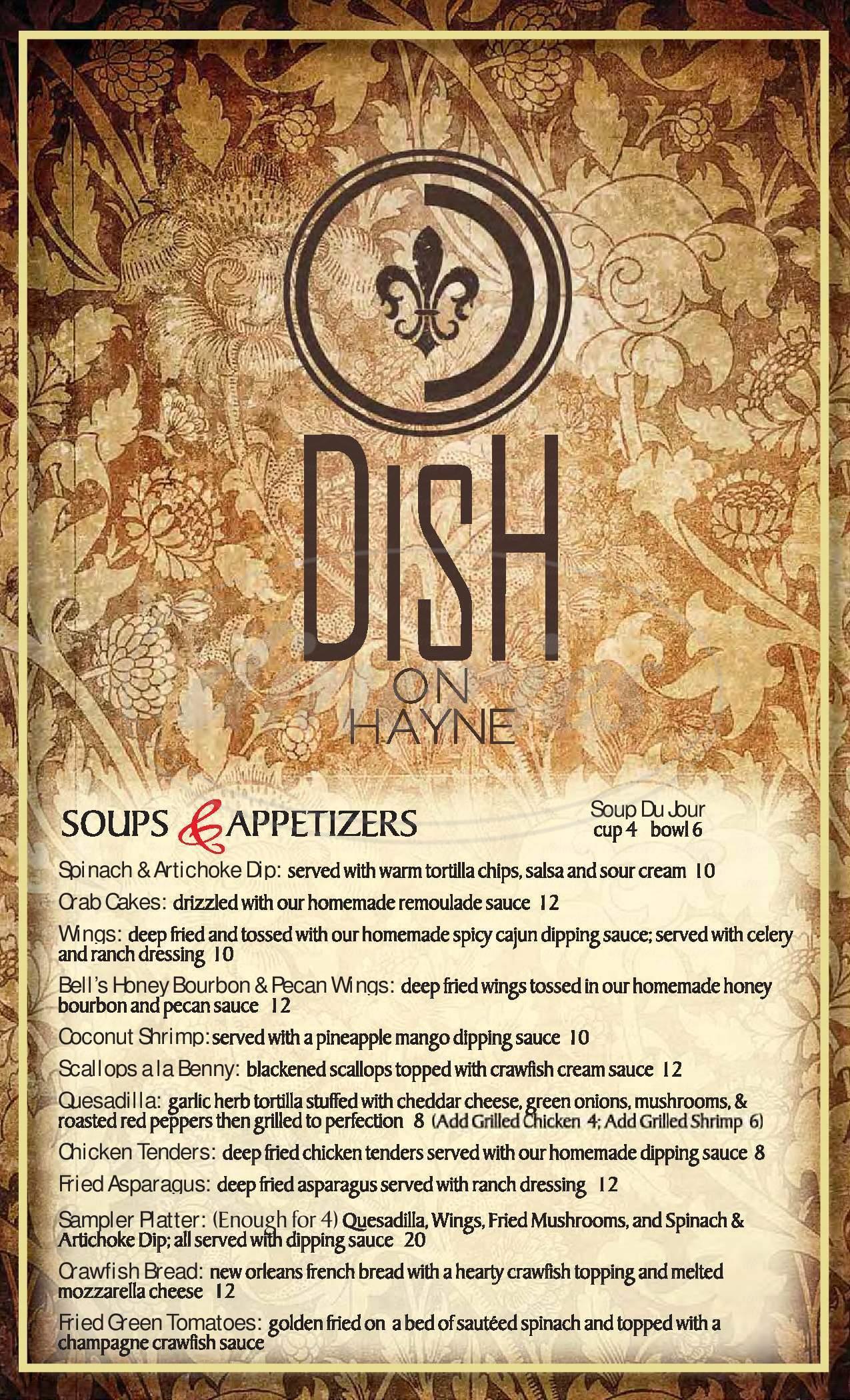 menu for Dish on Hayne