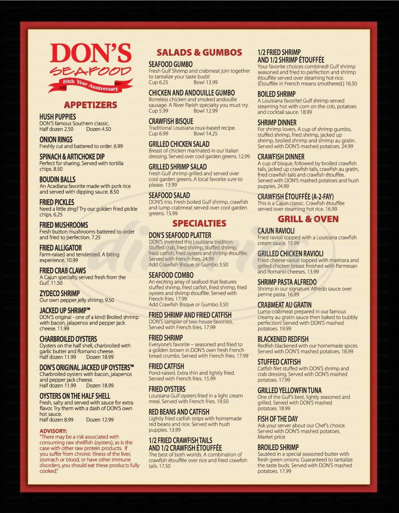 menu for Dons Seafood Hut