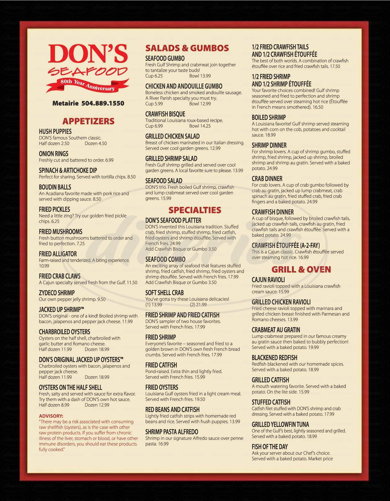 menu for Don's Seafood & Steak House