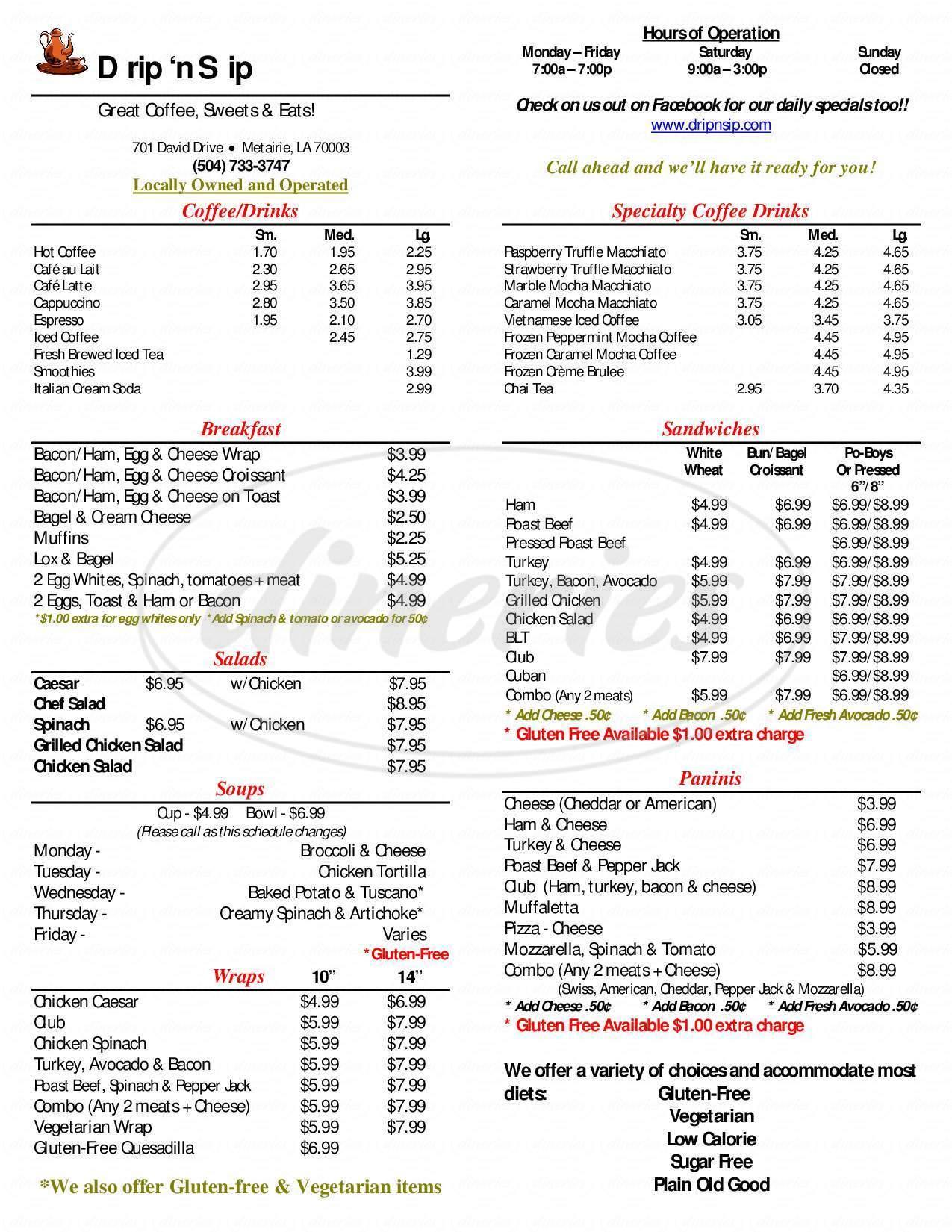 menu for Drip 'n Sip