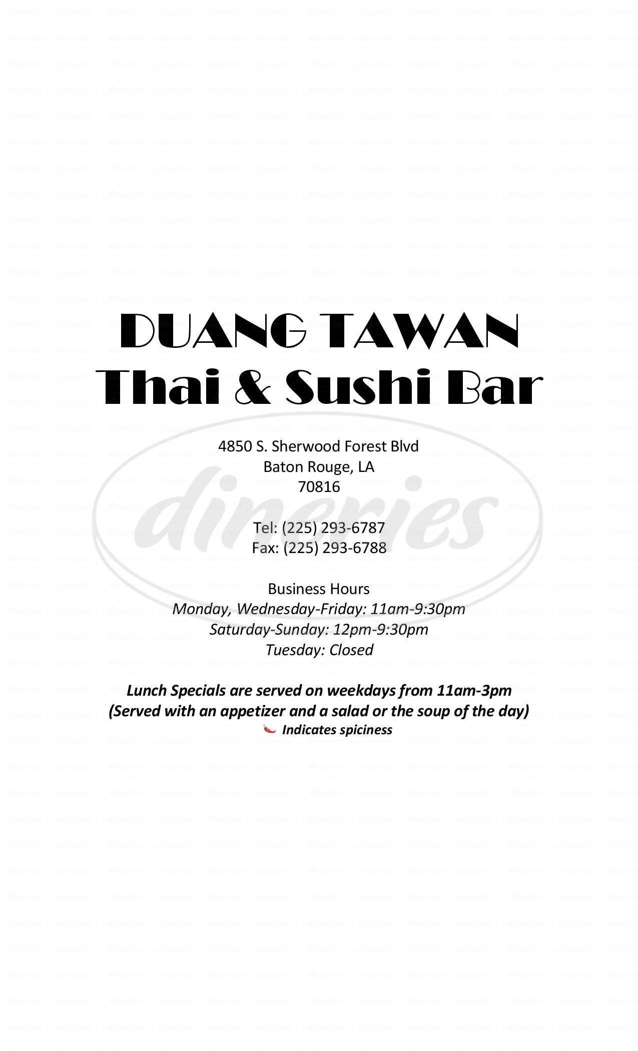 menu for Duang Tawan