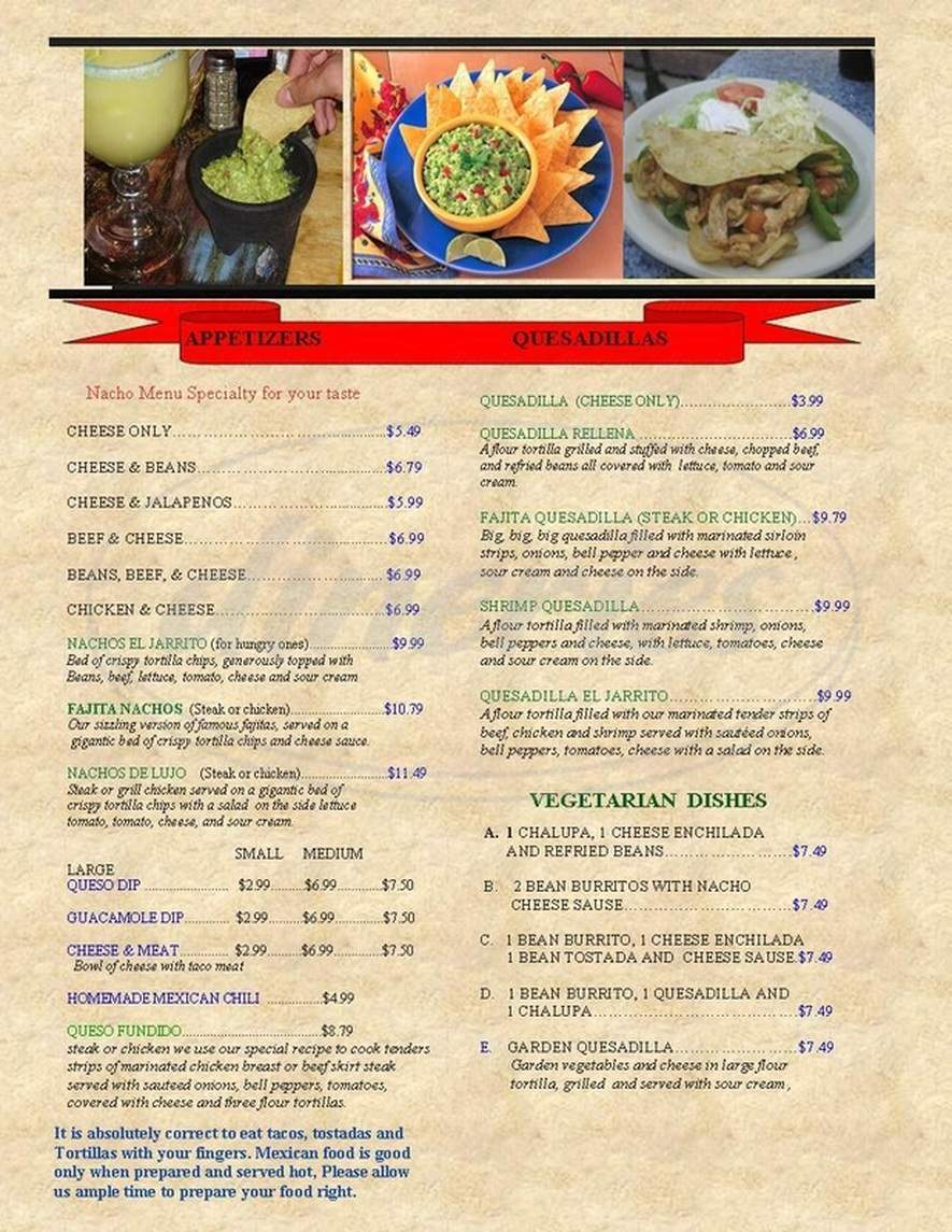 menu for El Jarrito Mexican Grill