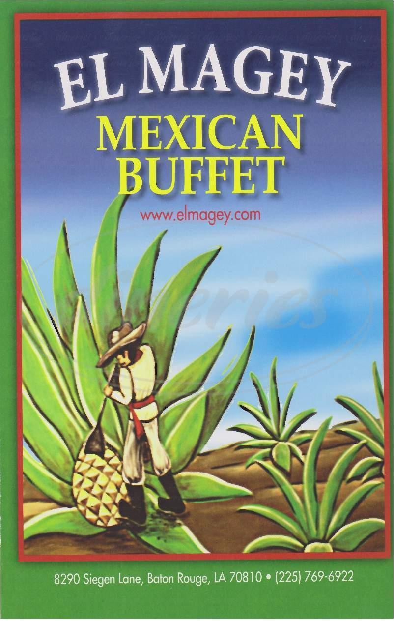 menu for El Magey Mexican Restaurant