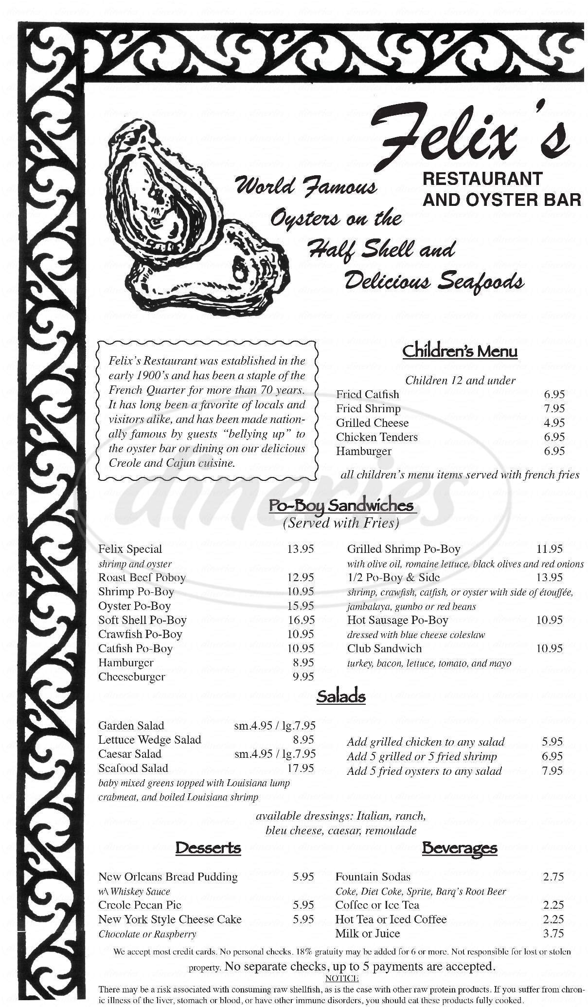 menu for Felix's Restaurant & Oyster Bar