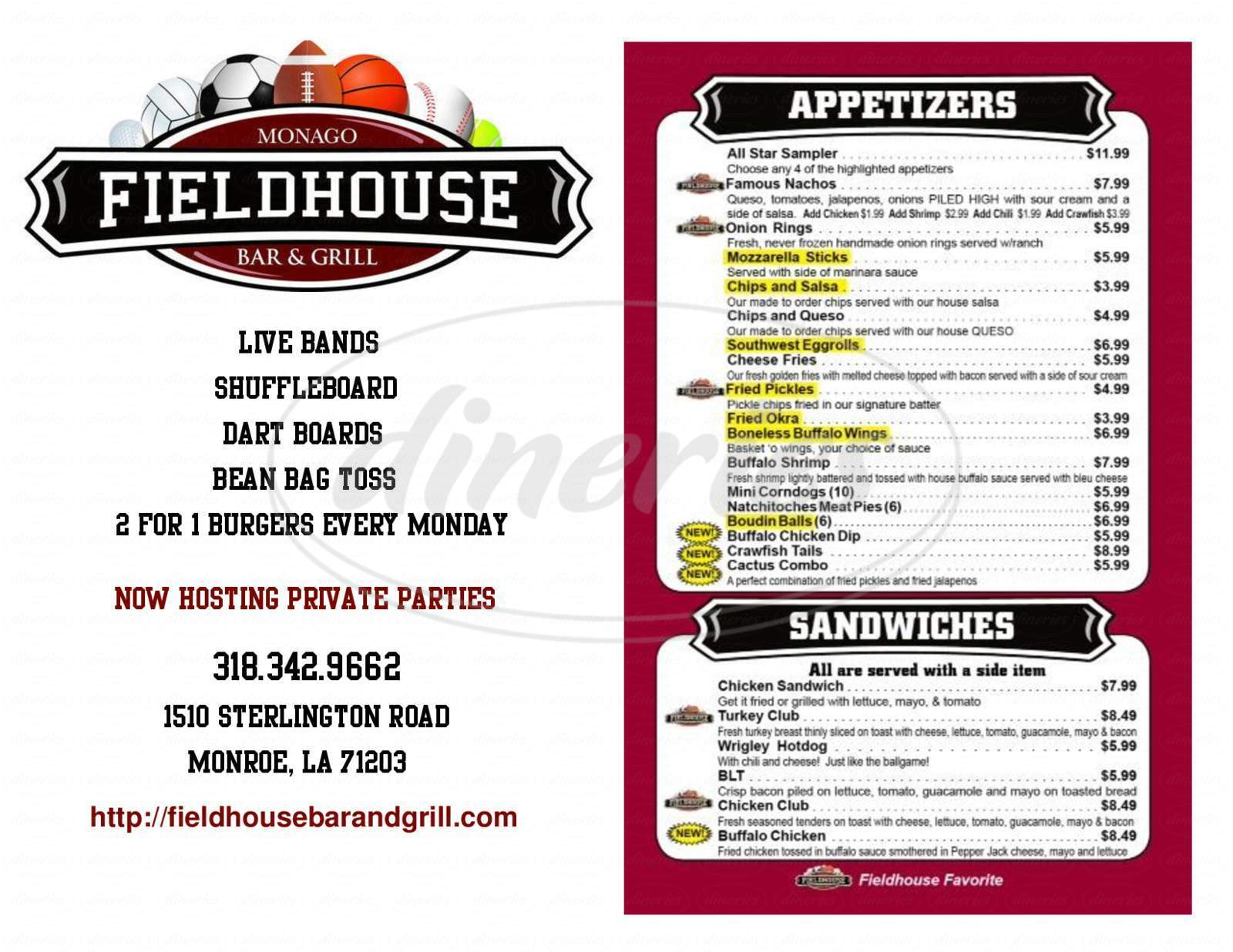 menu for Fieldhouse Bar & Grill