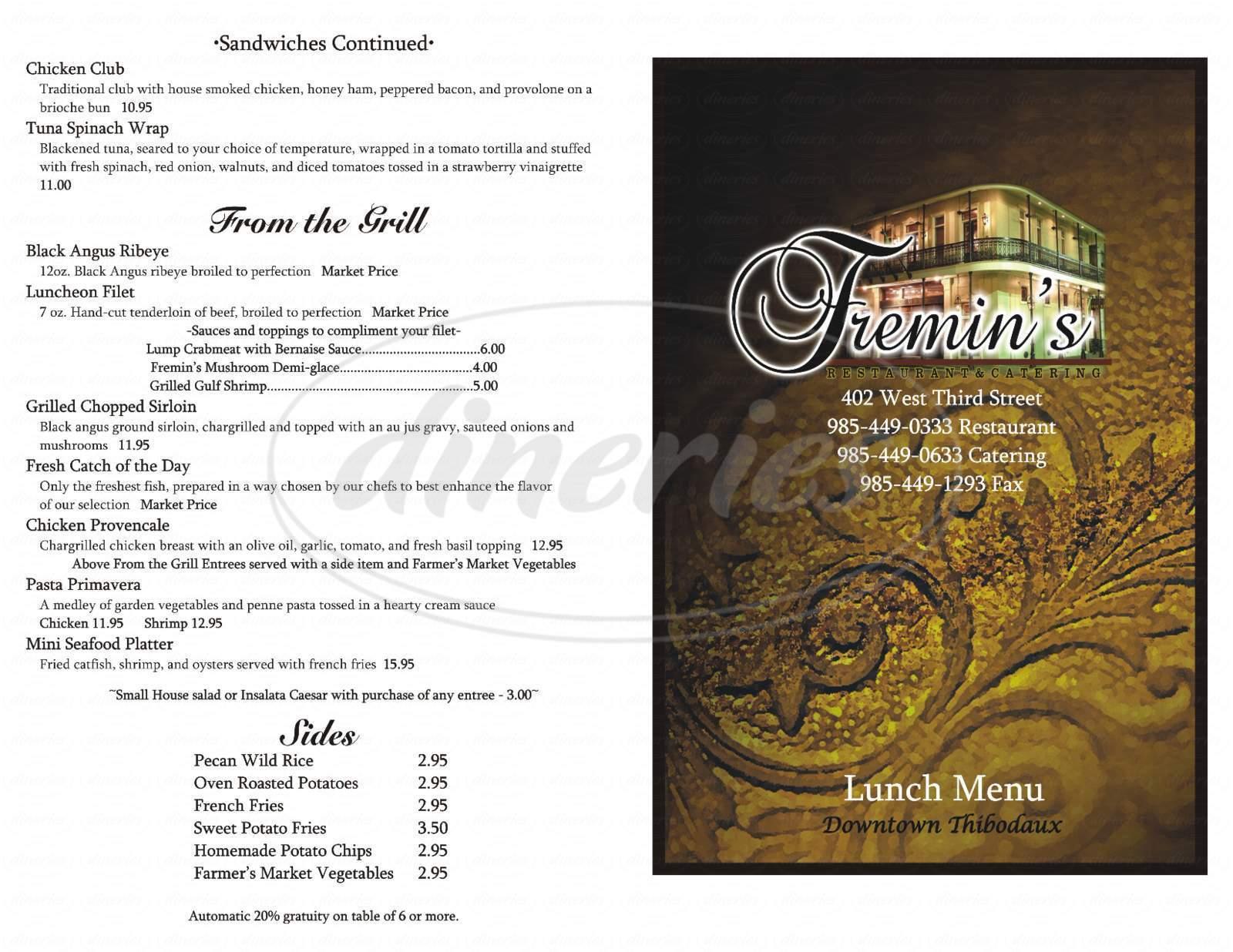 menu for Fremin's