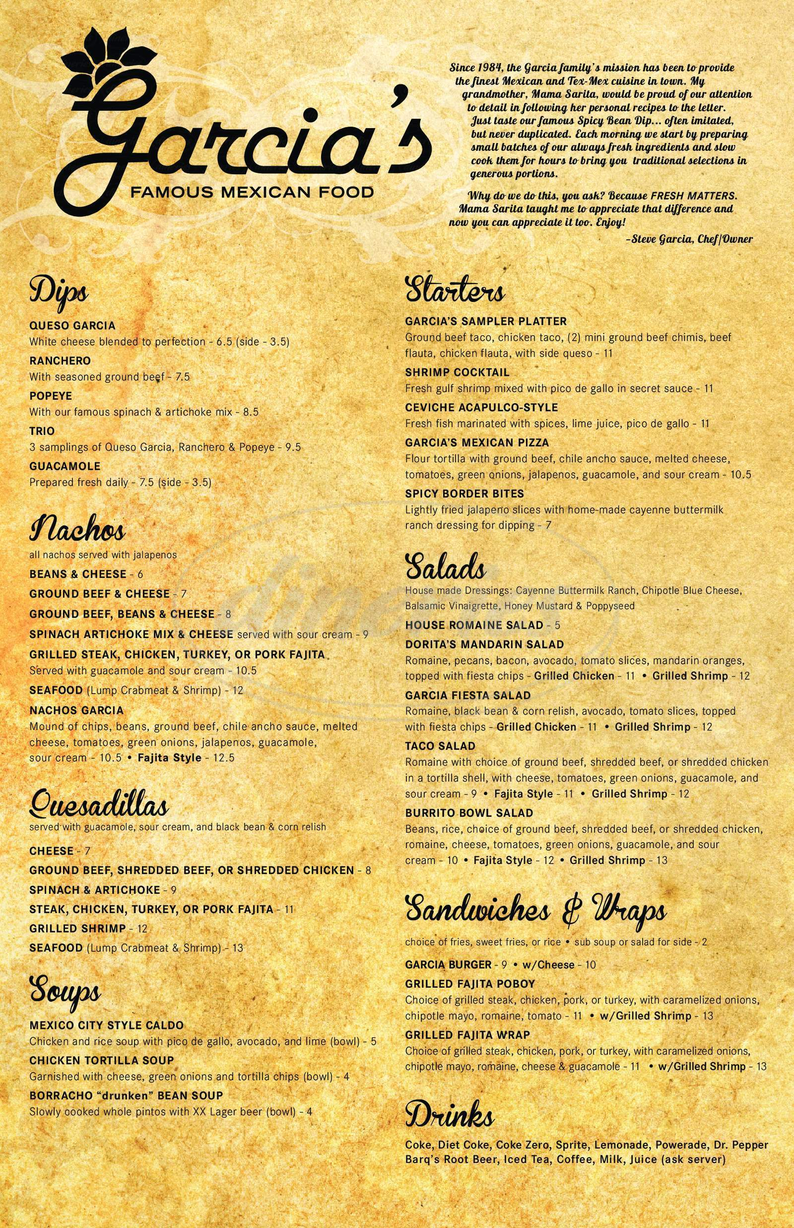 menu for Garcia's Famous Mexican Food