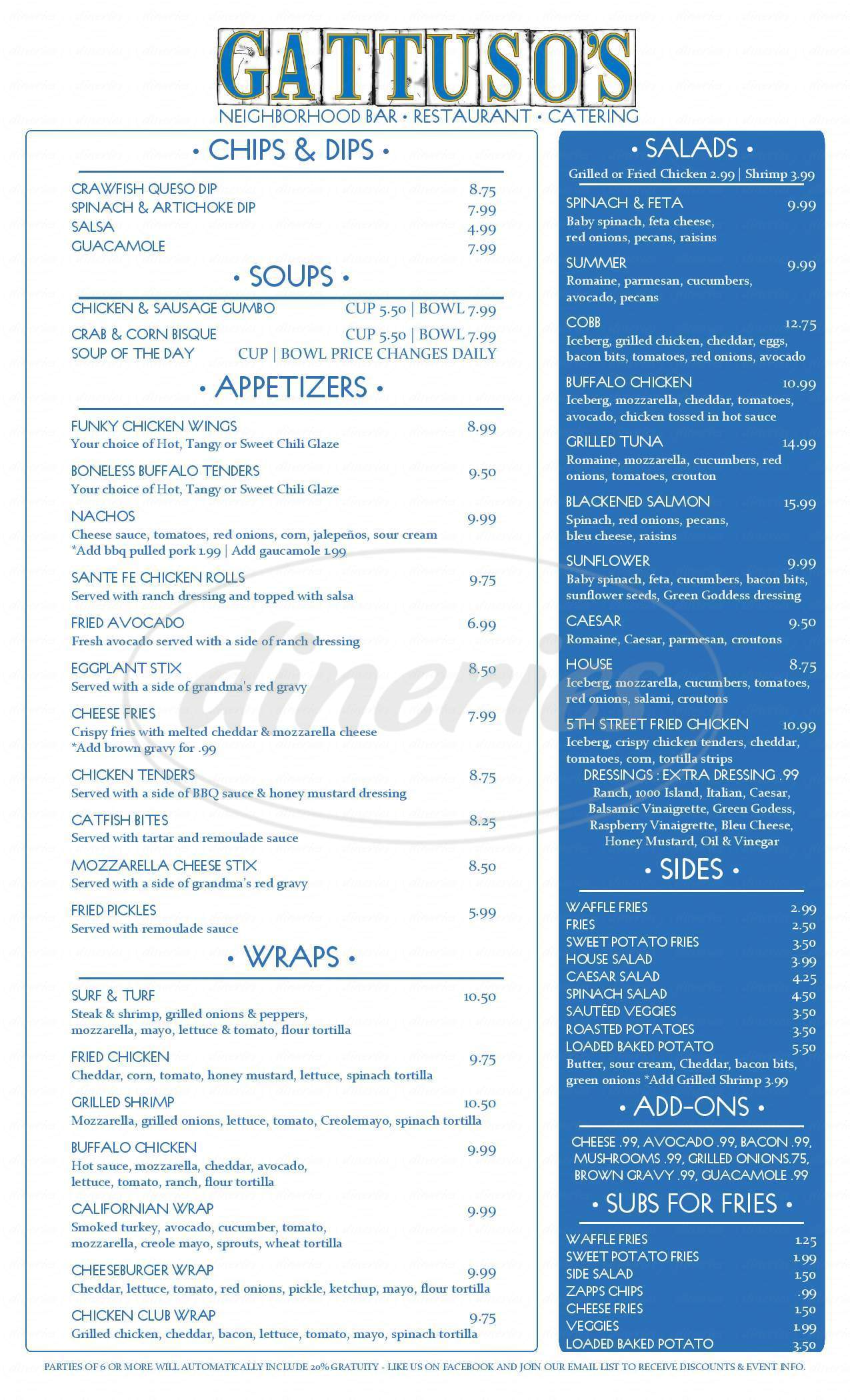 menu for Gattuso's Neighborhood Bar and Restaurant