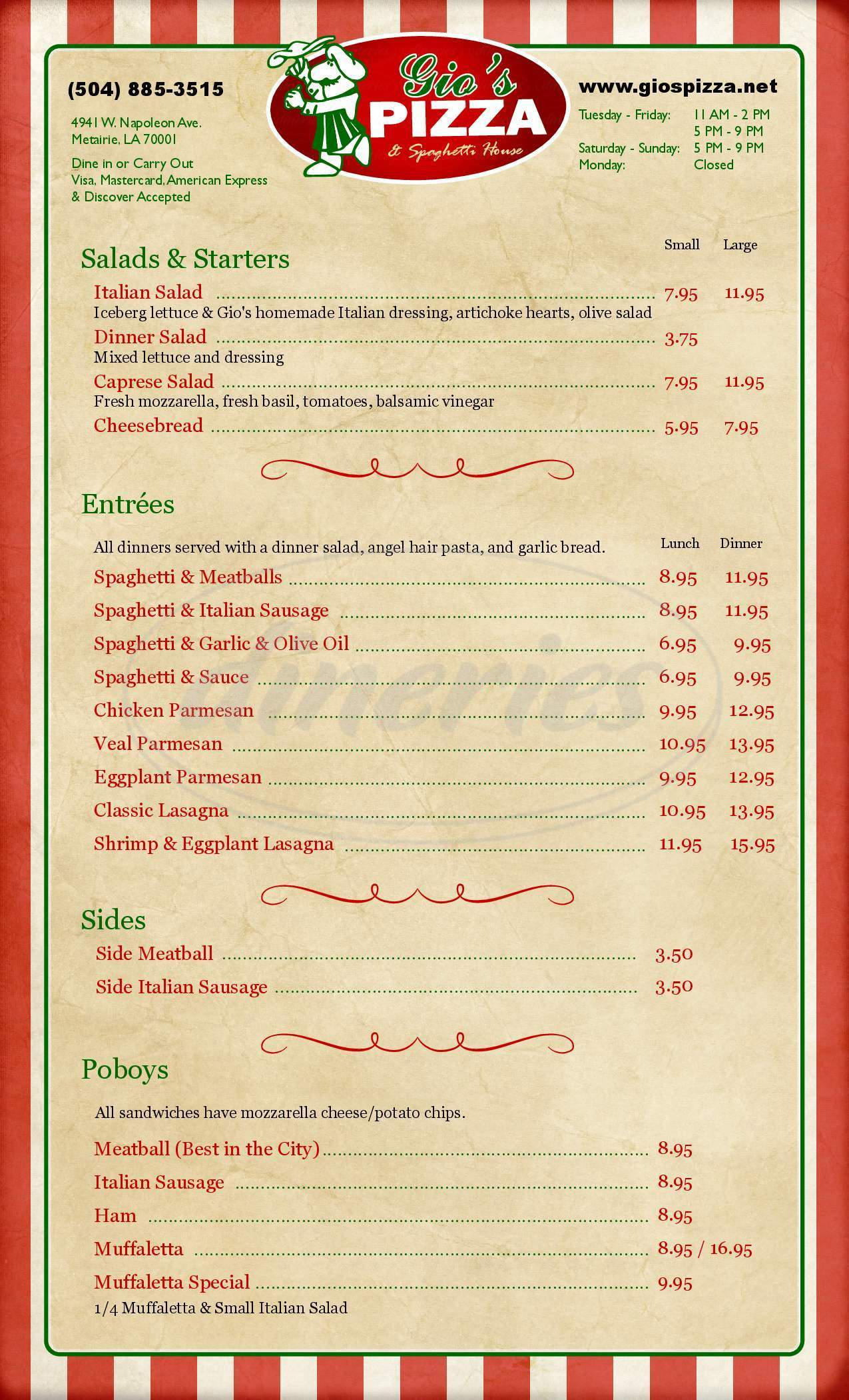 menu for Gio's Pizza & Spaghetti House