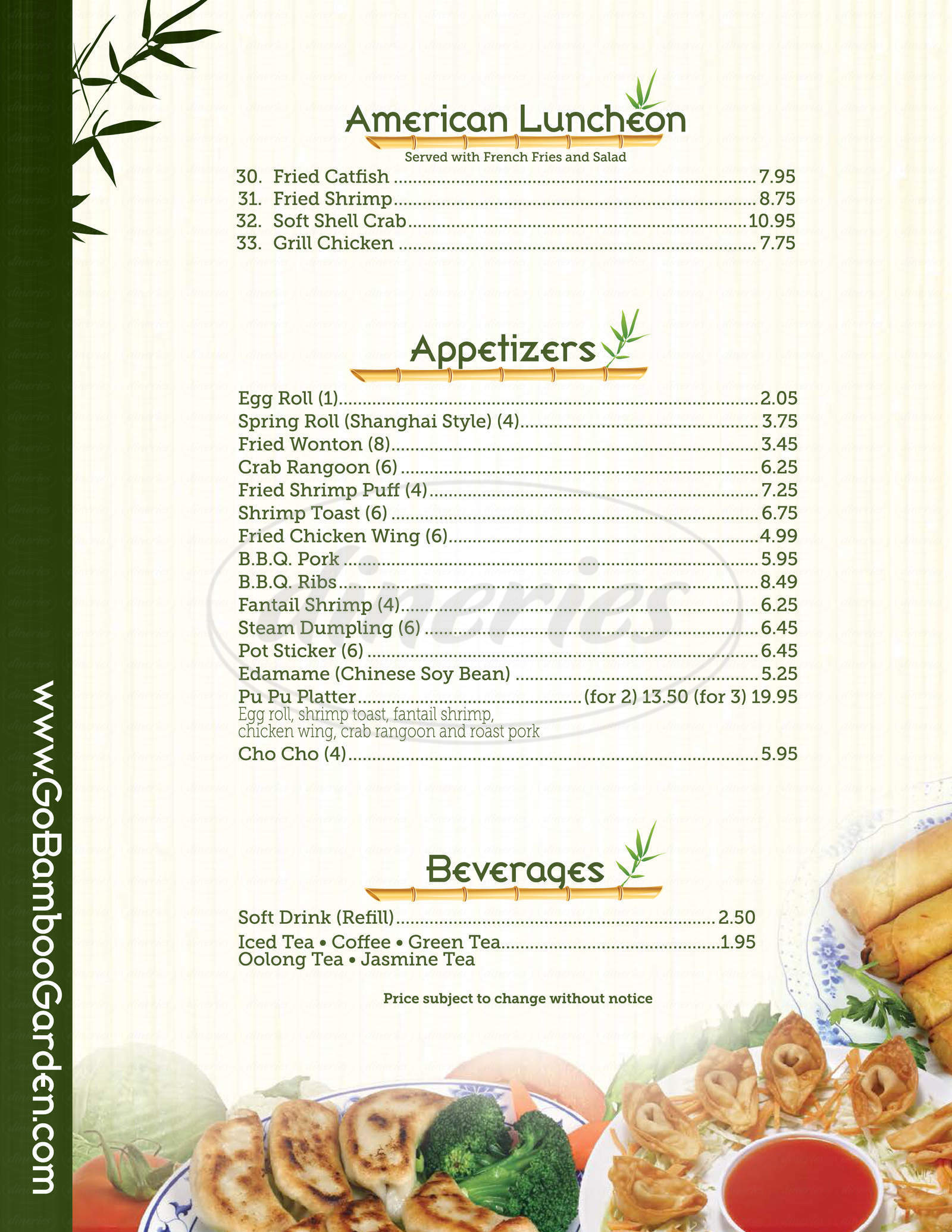menu for bamboo garden - Bamboo Garden Menu