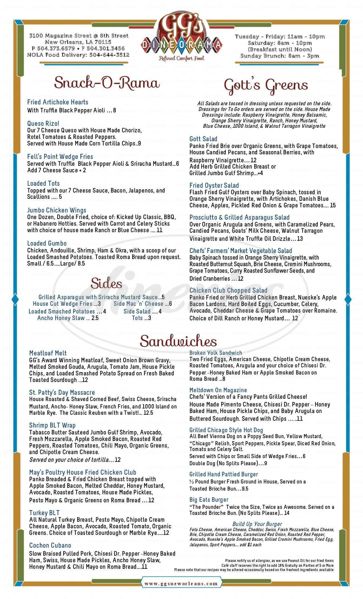menu for Gott Gourmet Cafe