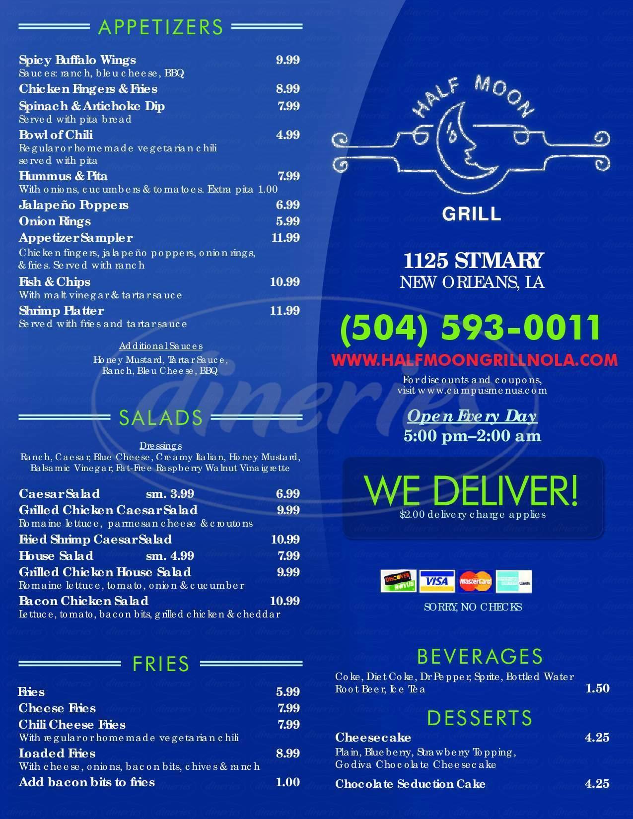 menu for Half Moon Bar & Restaurant