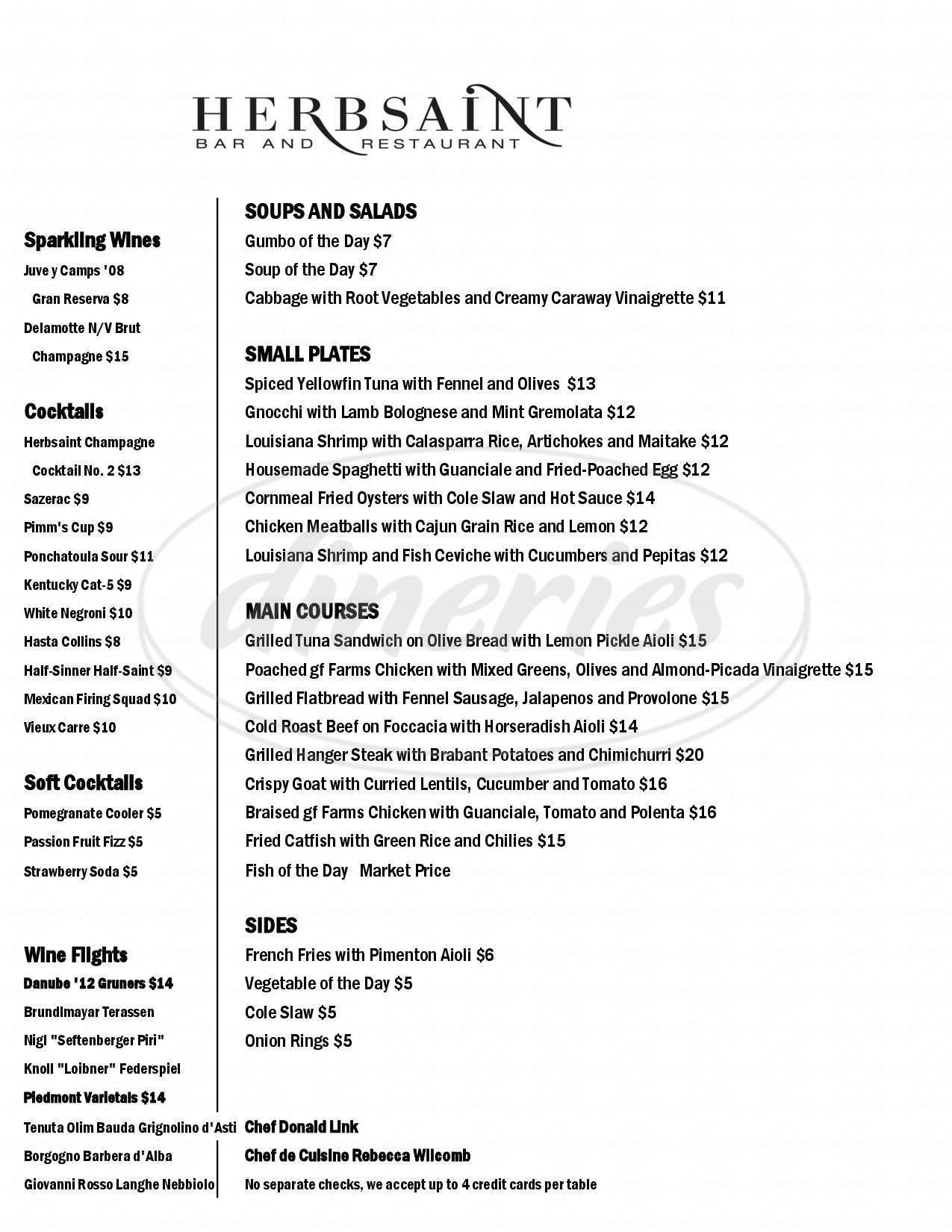 menu for Herbsaint