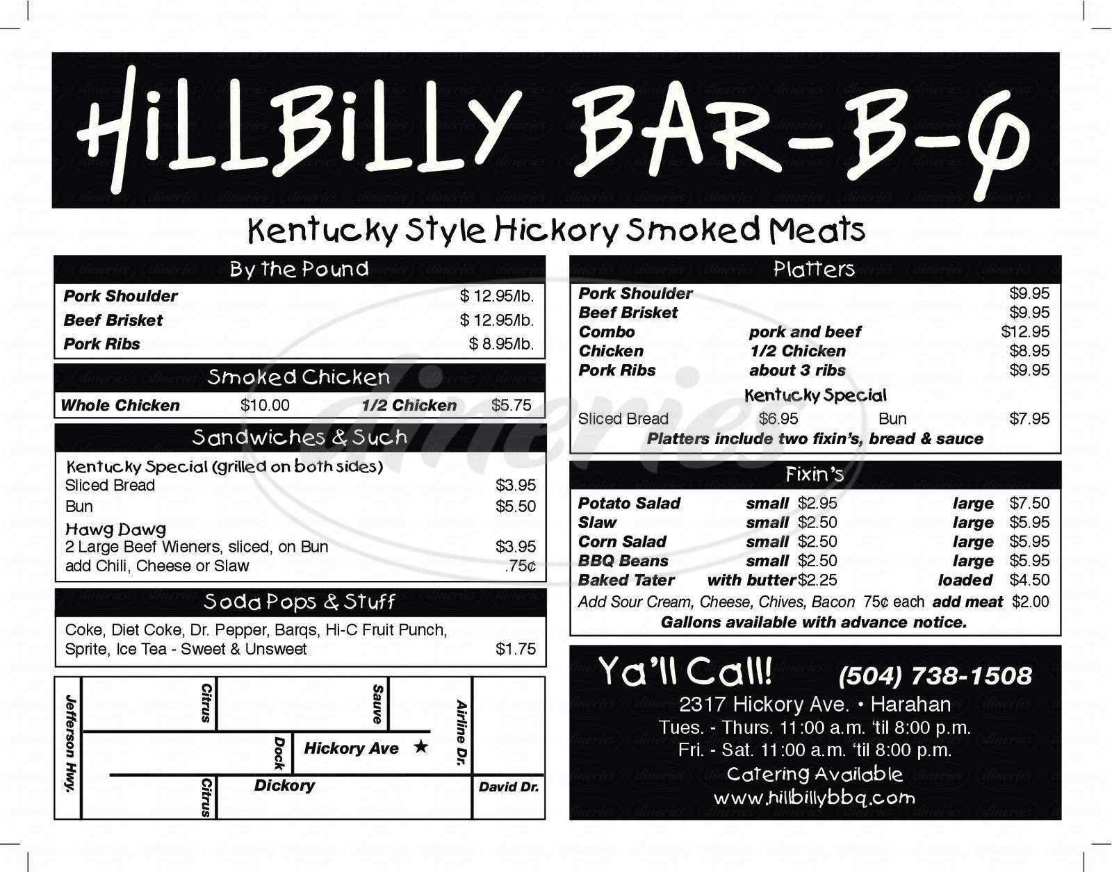 menu for Hillbilly Bar B Q