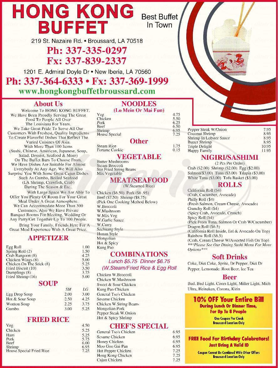 menu for Hong Kong Buffet