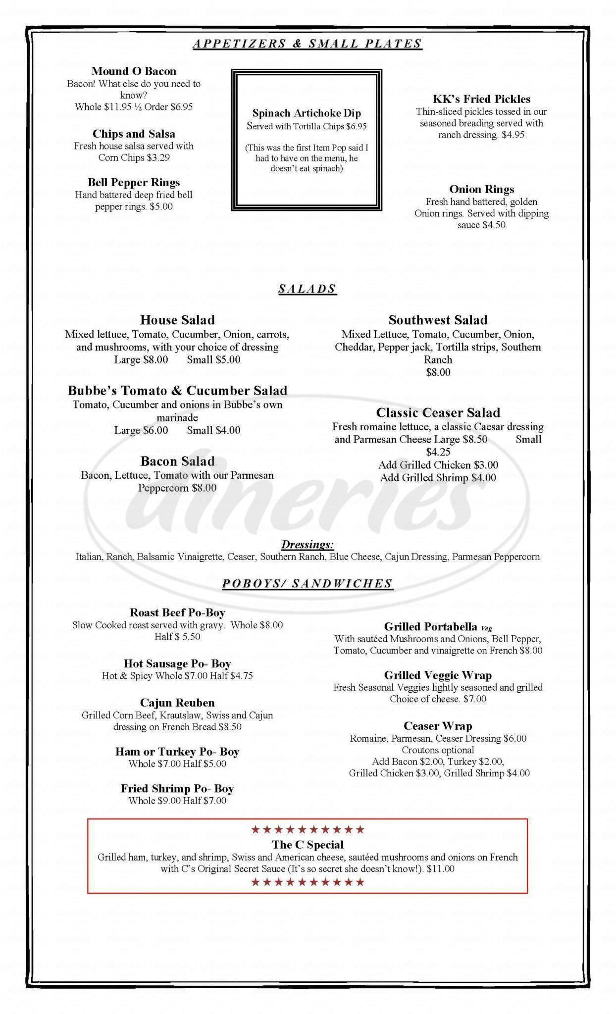 menu for Huh! a restaurant And bar