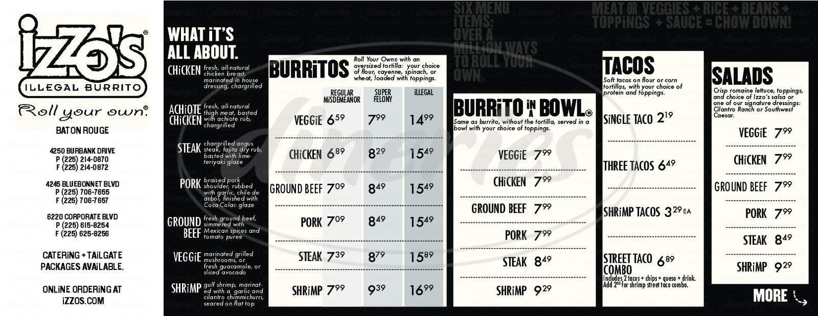 menu for Izzos Illegal Burrito Mall of Louisiana