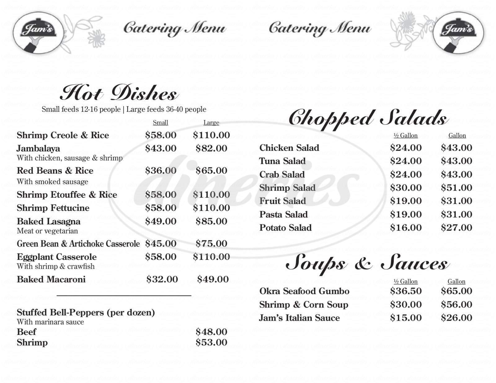 menu for Jam's PO-Boys & Catering
