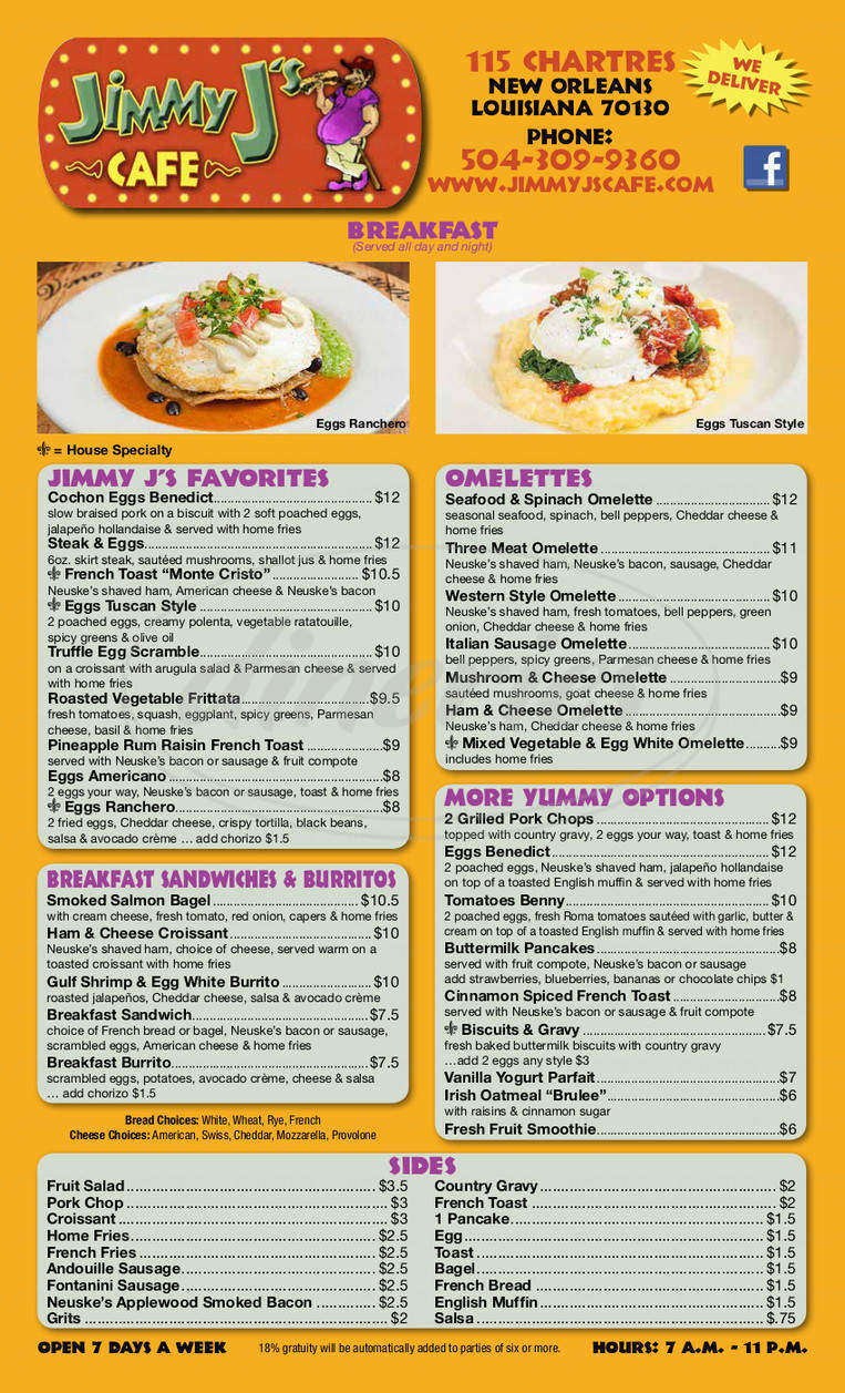 menu for Jimmy J's Cafe