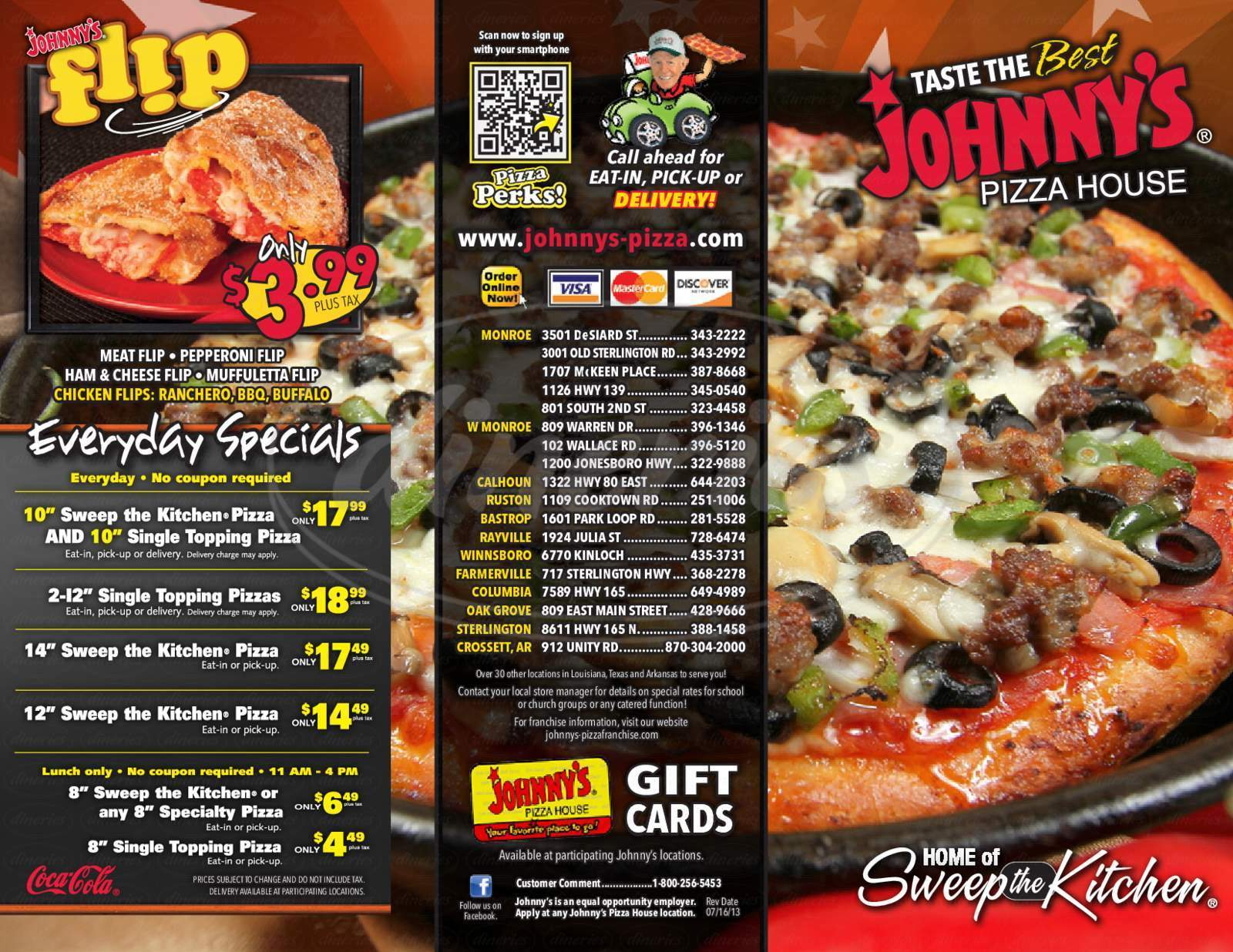 menu for Johnny's Pizza House
