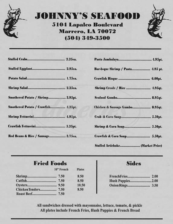 menu for Johnny's Seafood