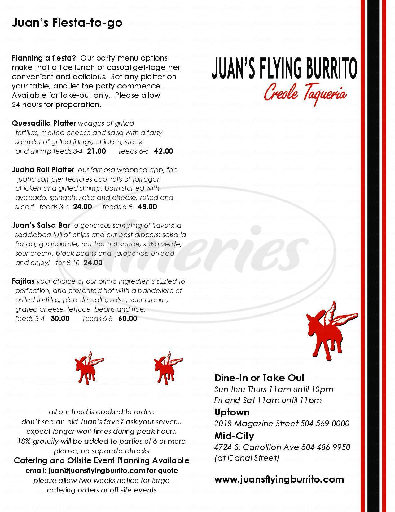menu for Juans Flying Burrito