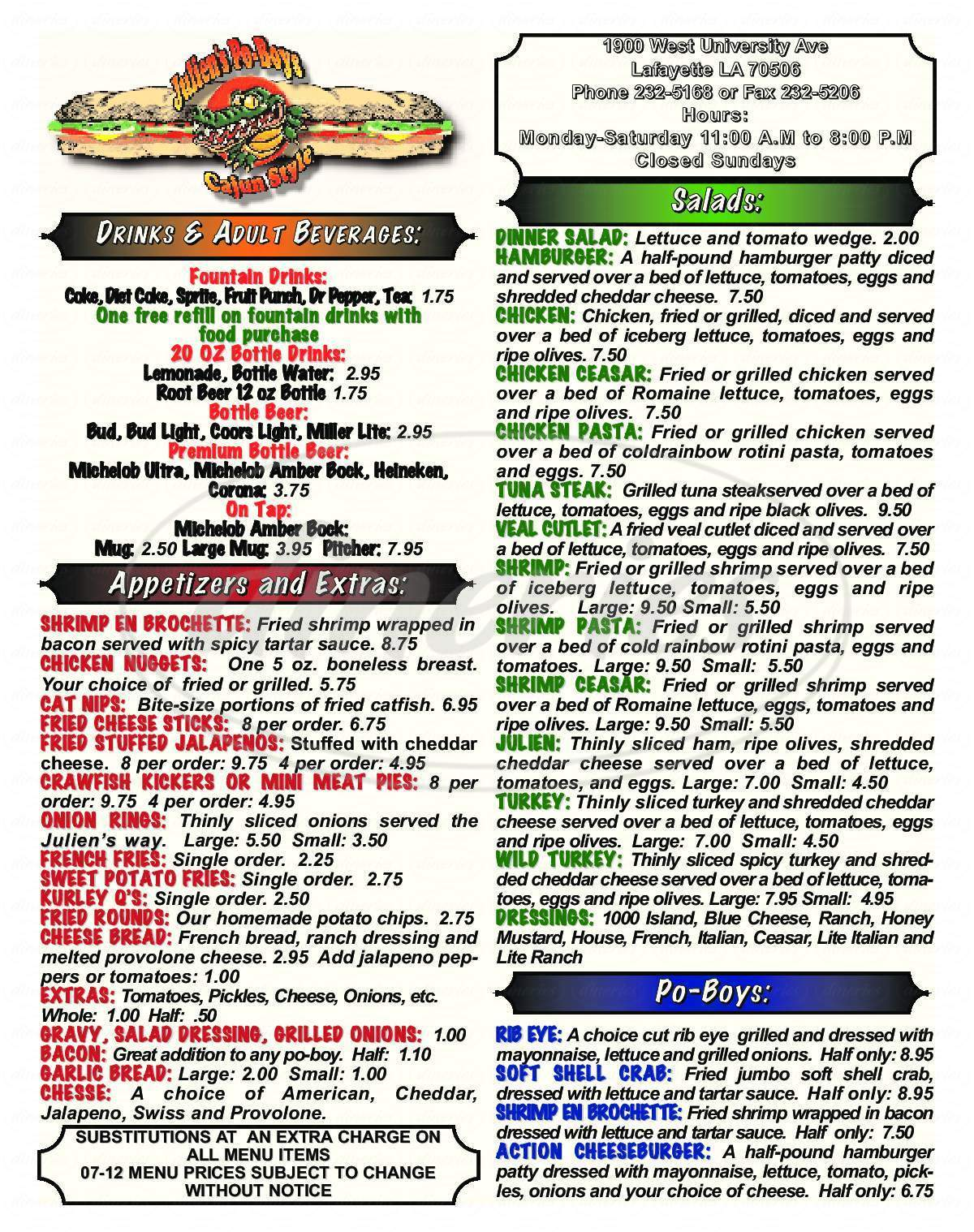 menu for Julien's Famous Cajun Style Poboys