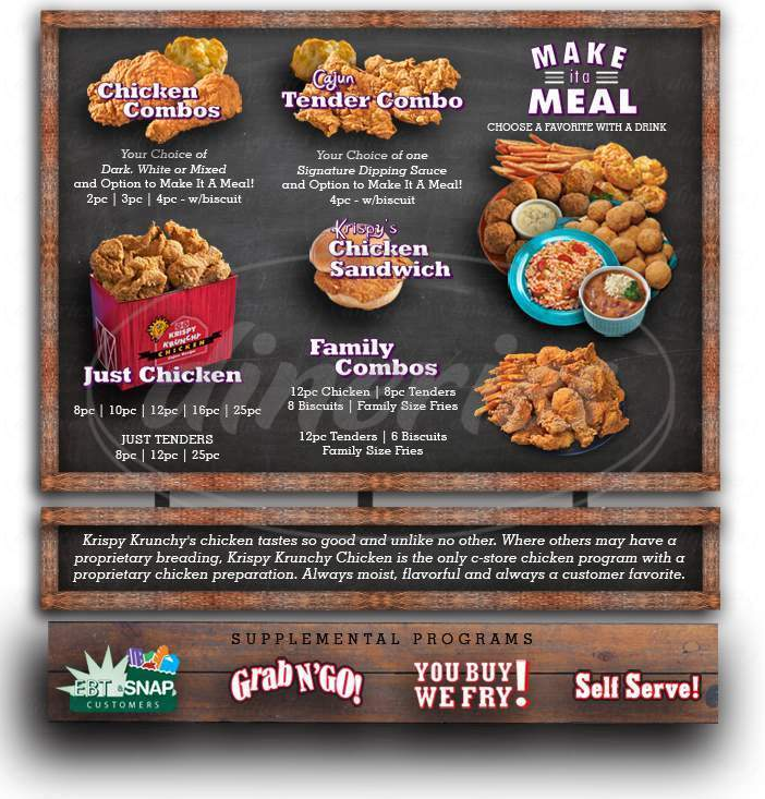 menu for Krispy Krunchy Chicken