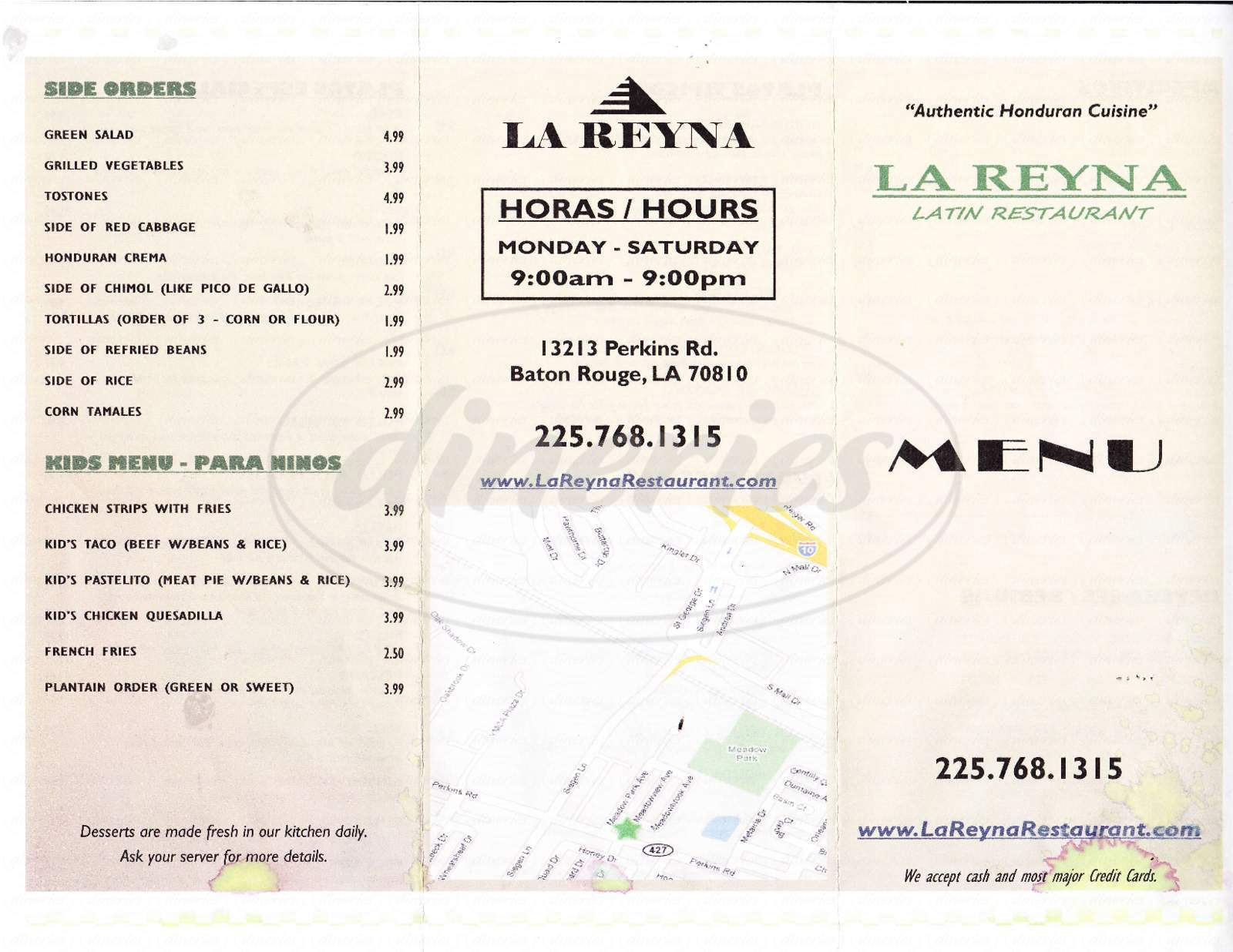 menu for La Reyna
