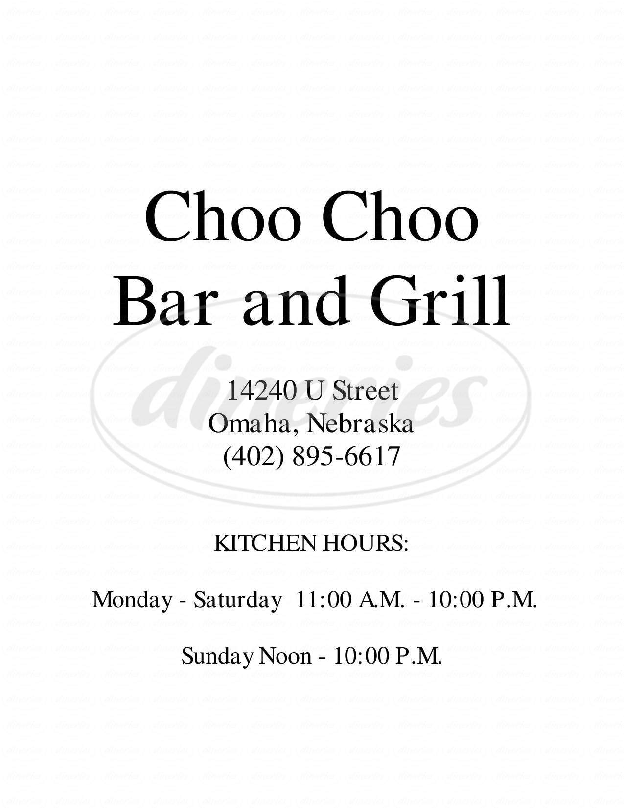menu for Choo Choo Bar & Grill