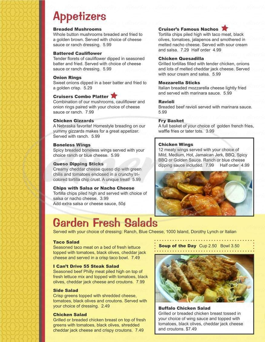 menu for Cruisers Bar and Grill