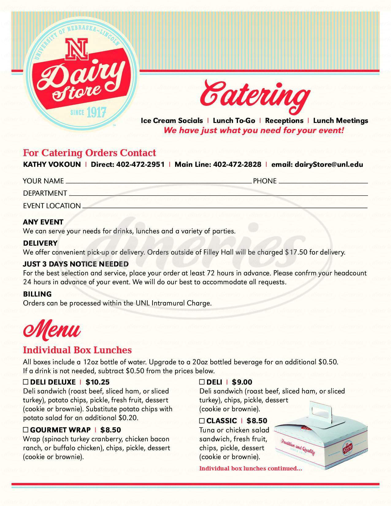 menu for UNL Dairy Store