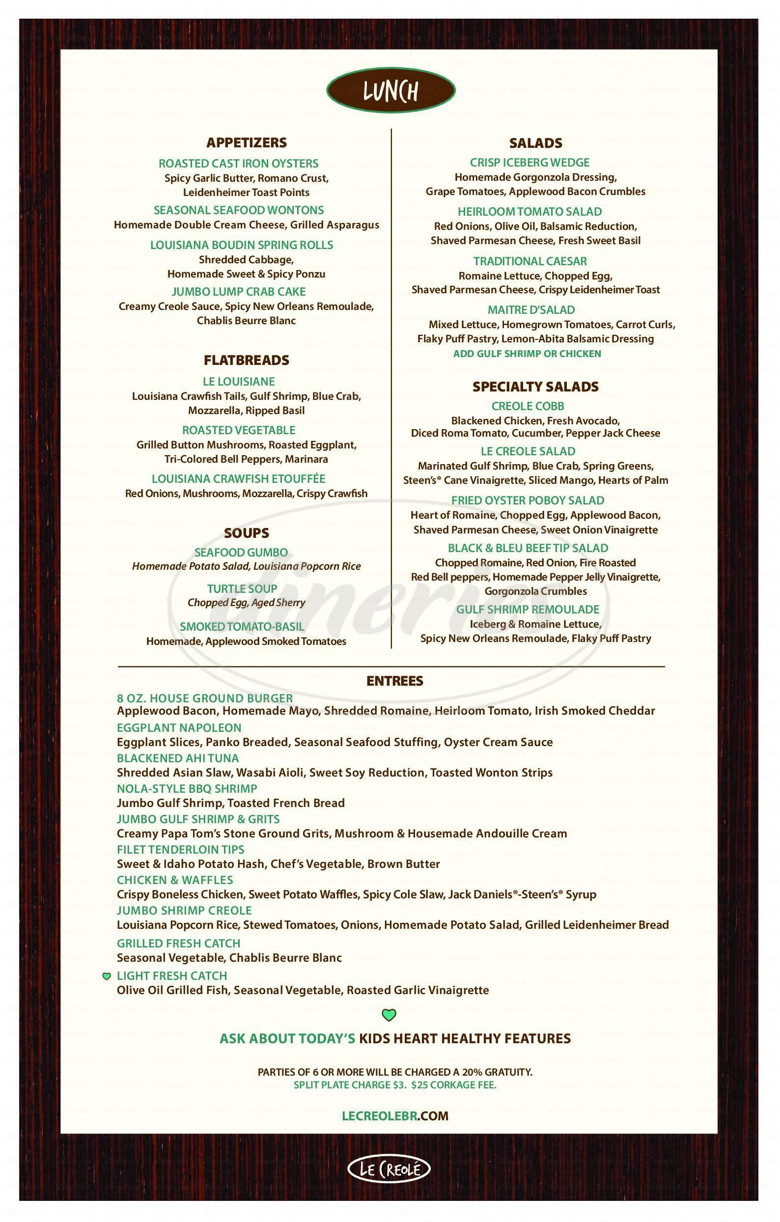 menu for Le Creole
