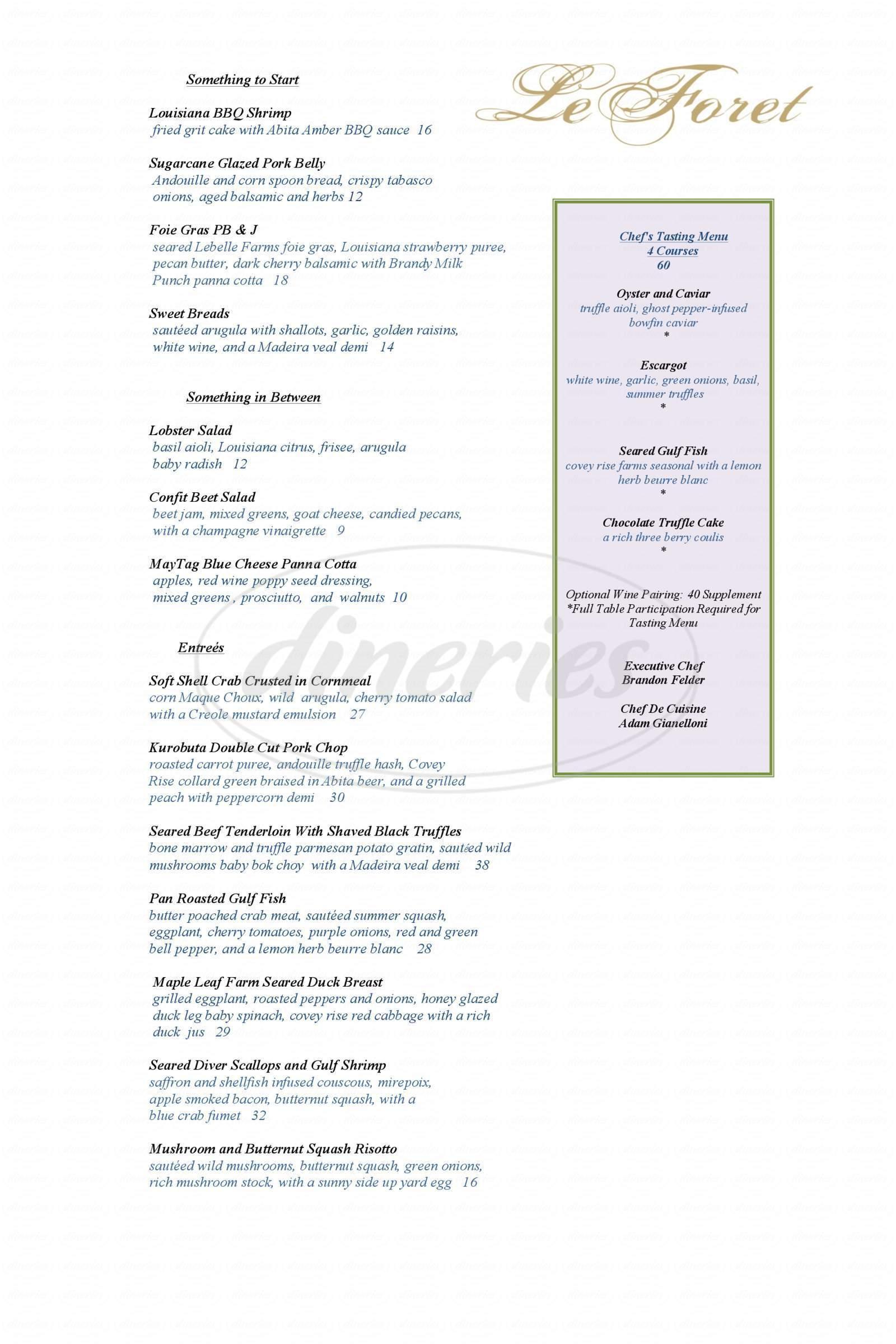 menu for Le Foret
