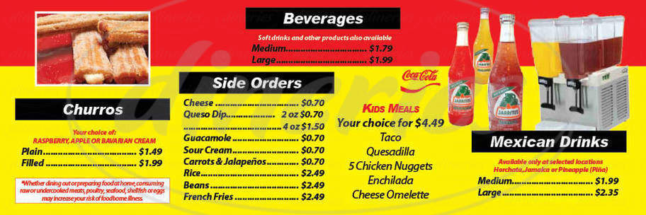 menu for Abelardo's Authentic Mexican Food Express