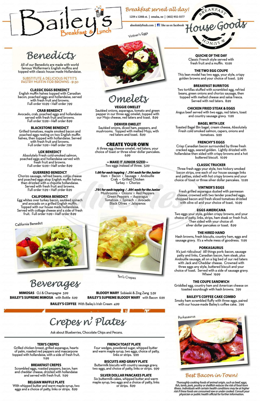 menu for Bailey's