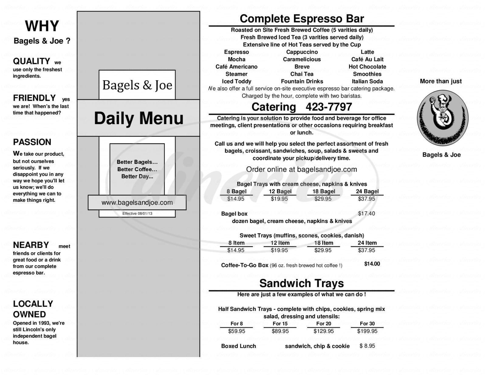 menu for Bagels & Joe