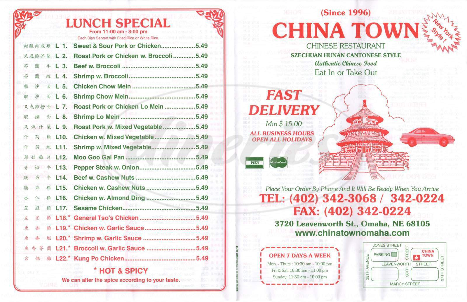 menu for China Town