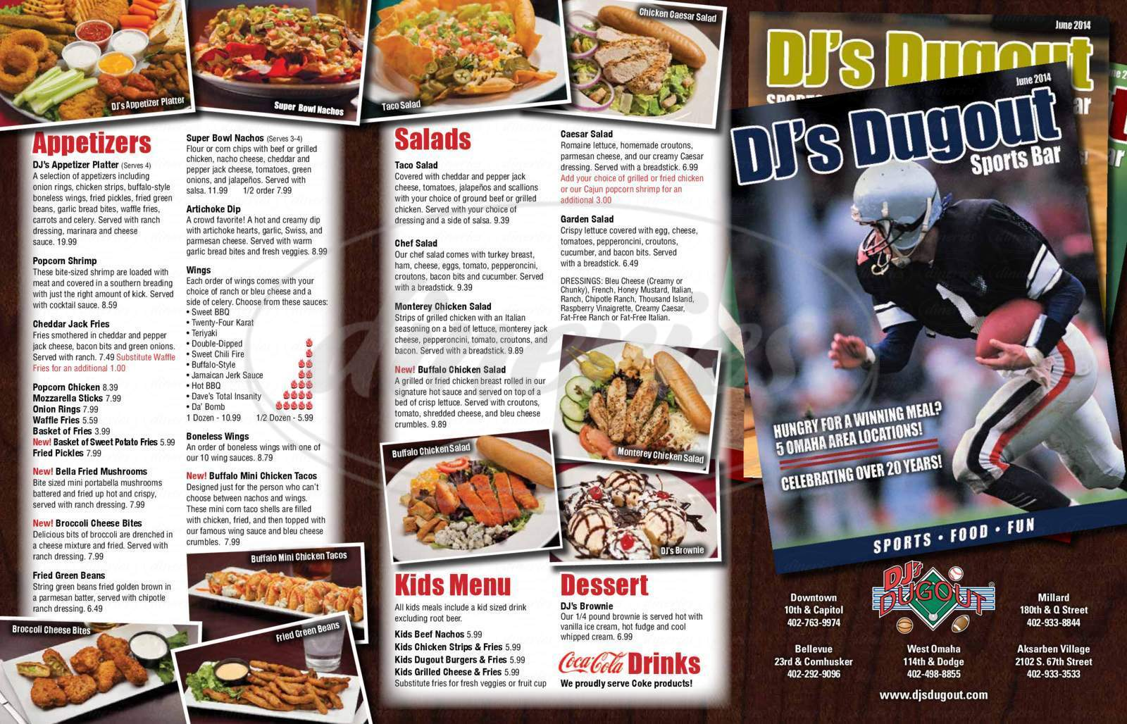 menu for Dj's Dugout