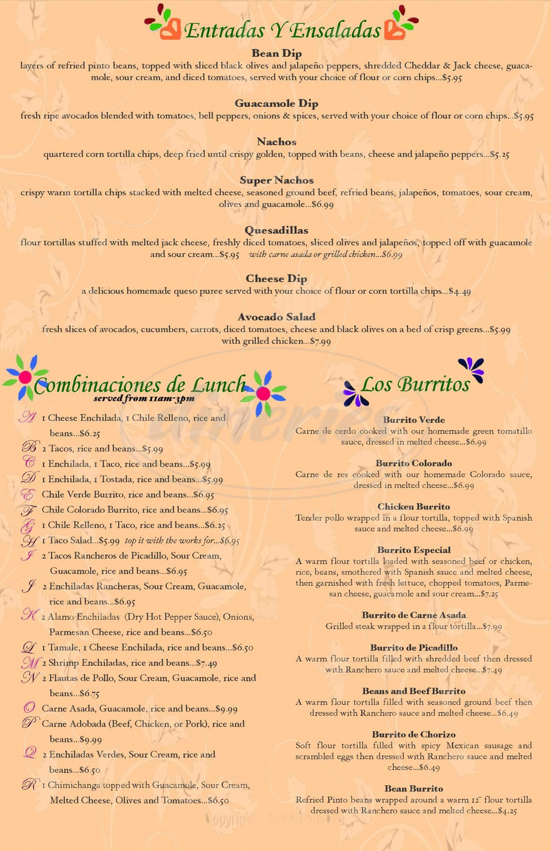 menu for El Alamo