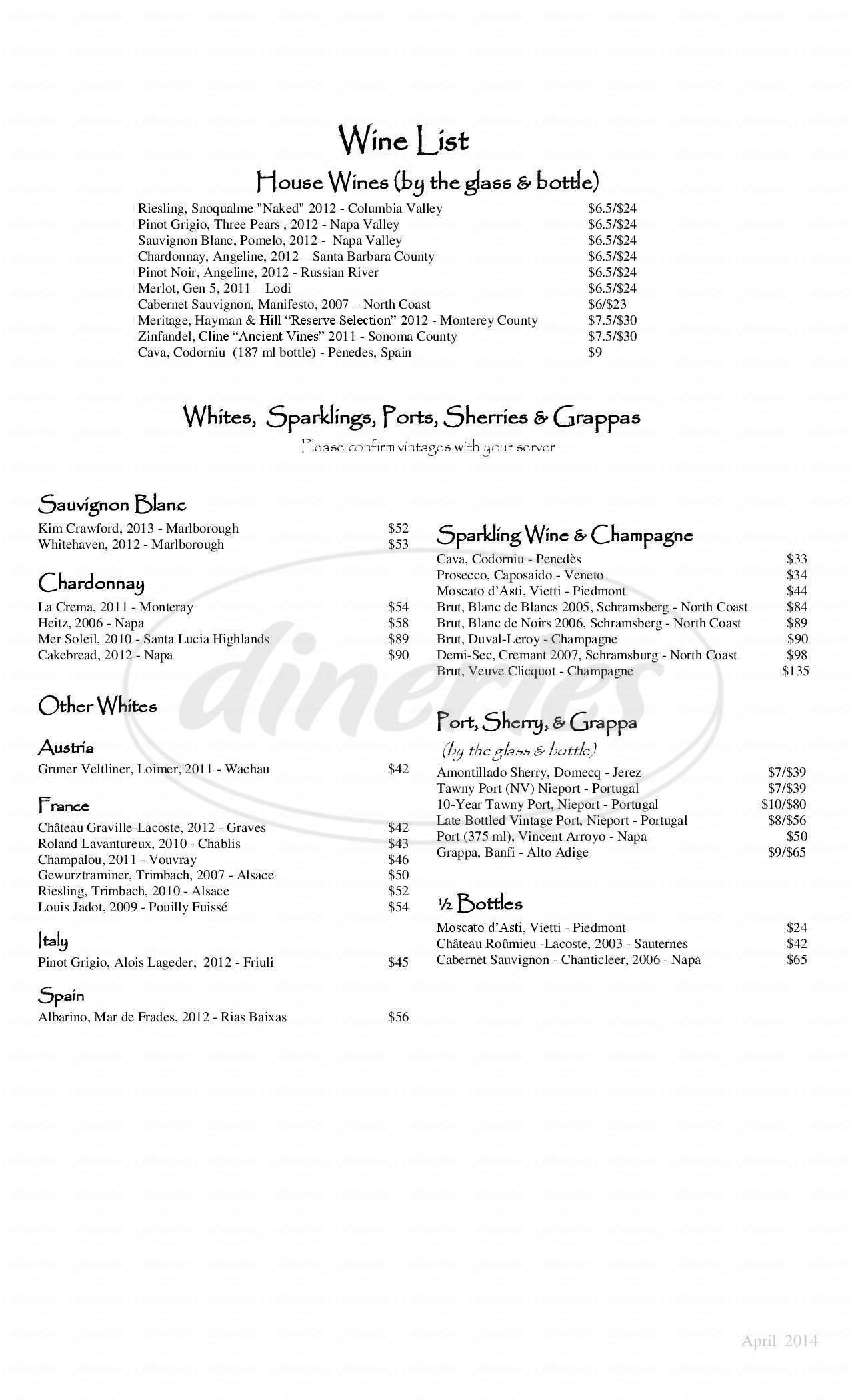 menu for Emporium Coffeehouse & Cafe